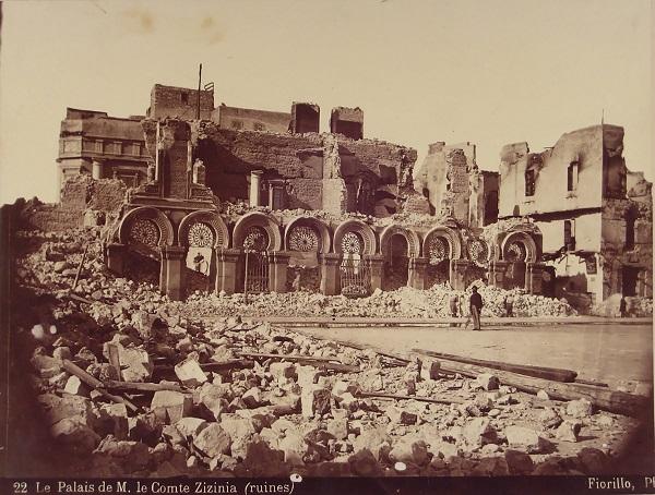 صورة نادرة لحطام قصر زيزينيا بعد قصف الإسكندرية 1882م – تصوير فيوريللو
