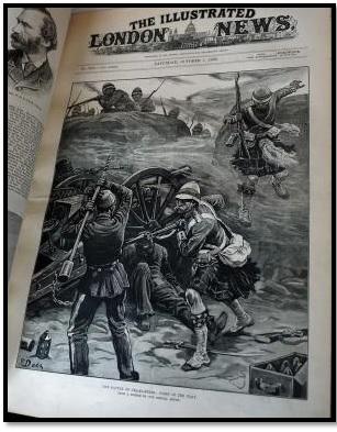 """جريدة لندن اليوم المصورة غلاف بتاريخ 7أكتوبر1882م – رسم بعنون """"على الخطوط الأولى – معركة التل الكبير"""""""