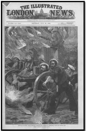 غلاف جريدة لندن المصورة 29يوليو1882م – رسم بعنوان الحرب المصرية جنود البحرية تؤمن شوارع الإسكندرية